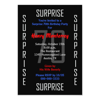 Surprise 70th Birthday Party Invitation 70