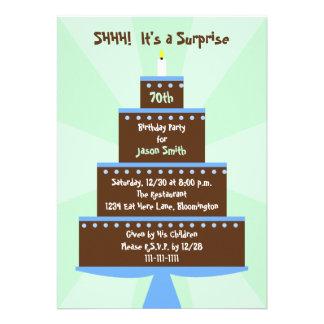 Surprise 70th Birthday Party Invitation -- Cake Custom Invite