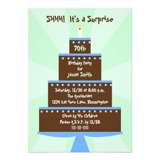 Surprise 70th Birthday Party Invitation -- Cake