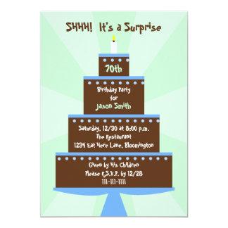 "Surprise 70th Birthday Party Invitation -- Cake 5"" X 7"" Invitation Card"