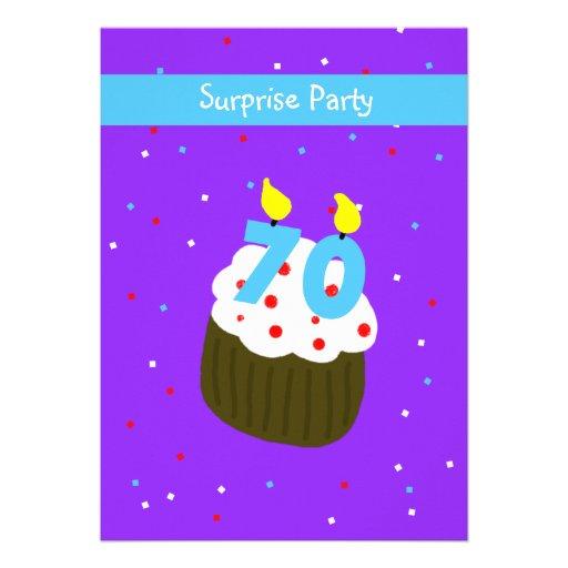 Surprise 70th Birthday Party Invitation -- Cupcake