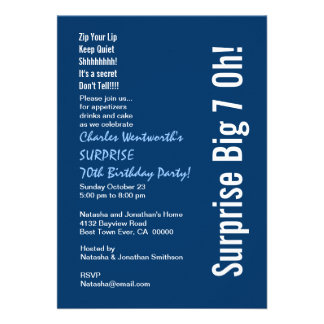 SURPRISE 70th Birthday Party Modern Blue and White Personalized Invitation