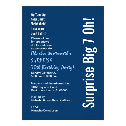 SURPRISE 70th Birthday Party Modern Blue and White Personalized Invite