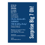 SURPRISE 70th Birthday Party Modern Blue and White 5x7 Paper Invitation Card