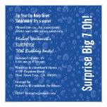 SURPRISE 70th Birthday Party Modern Blue Confetti 5.25x5.25 Square Paper Invitation Card