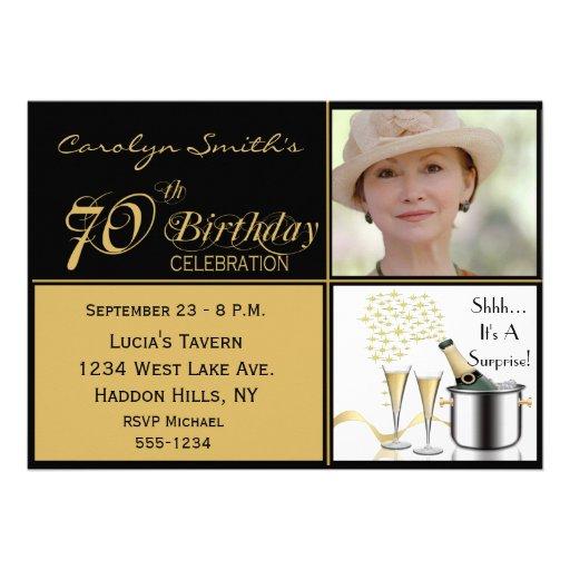 "Surprise 70th Birthday Party Photo Invitations 5"" X 7 ..."