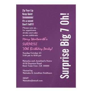 SURPRISE 70th Birthday Party Purple and White Personalized Invites