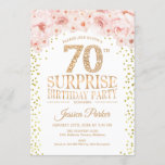 """Surprise 70th Birthday Party - White Gold Pink Invitation<br><div class=""""desc"""">Surprise 70th Birthday Party Invitation. Elegant design in faux glitter gold,  white and pink. Features confetti,  script font and watercolor blush pink flowers. Message me if you need further customization.</div>"""