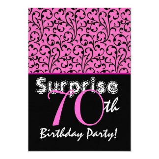 SURPRISE 70th Birthday Pink Swirl Linen Paper Card
