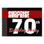 Surprise 70th Birthday Red and Black V05 Personalized Announcements