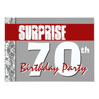 Surprise 70th Birthday Red and Gray V03 Card