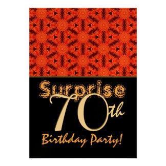 SURPRISE 70th Birthday Red Snowflake Damask Custom Invitations