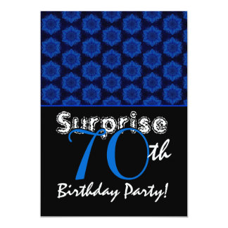 SURPRISE 70th Birthday Royal Blue Stars W1448 Personalized Invites