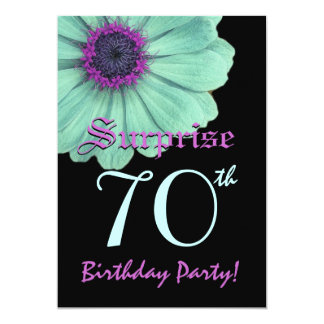 SURPRISE 70th Birthday Template Green Purple Daisy 5x7 Paper Invitation Card