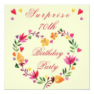 Surprise 70th Birthday Watercolor Floral Heart 5.25x5.25 Square Paper Invitation Card