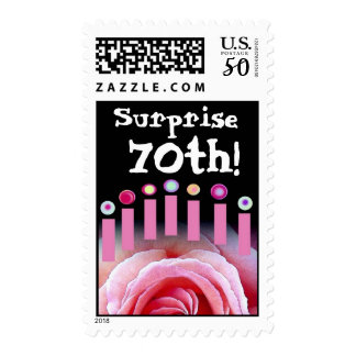 SURPRISE 70th Birthday with Rose and Candles Postage