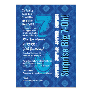 SURPRISE 70th Modern Birthday Blue and White V34 Card