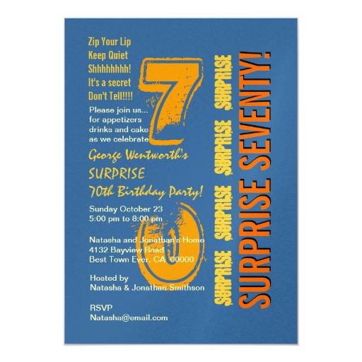 SURPRISE 70th Modern Birthday Blue Gold Yellow 5x7 Paper Invitation Card
