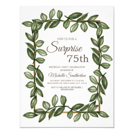 Surprise 75th Birthday Green Leaves Women Invitation