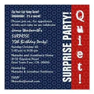 SURPRISE 75th Birthday Modern Red White Blue Star Card