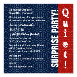 SURPRISE 75th Birthday Modern Red White Blue Star Personalized Invitations