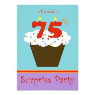 "Surprise 75th Birthday Party Invitation 5"" X 7"" Invitation Card"