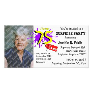 Surprise 75th Birthday Party Photo Invitation