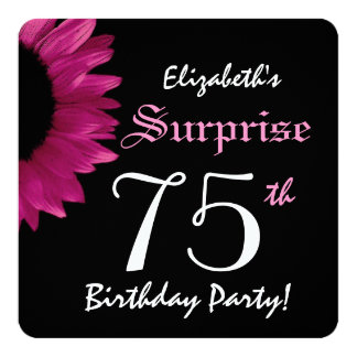 """SURPRISE 75th Birthday Party Sunflower A10C 5.25"""" Square Invitation Card"""