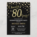 """Surprise 80th Birthday Black and Gold Diamond Invitation<br><div class=""""desc"""">Surprise 80th Birthday Invitation with Black and Gold Glitter Diamond Background. Gold Confetti. Adult Birthday. Male Men or Women Birthday. For further customization,  please click the """"Customize it"""" button and use our design tool to modify this template.</div>"""