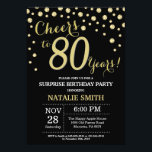 "Surprise 80th Birthday Black and Gold Diamond Invitation<br><div class=""desc"">Surprise 80th Birthday Invitation with Black and Gold Glitter Diamond Background. Gold Confetti. Adult Birthday. Male Men or Women Birthday. For further customization,  please click the ""Customize it"" button and use our design tool to modify this template.</div>"