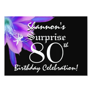 SURPRISE 80th Birthday Black and Purple Petals 09 Card