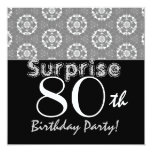 SURPRISE 80th Birthday Black Silver Flower Stars Announcements
