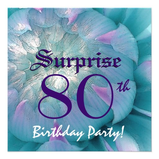 SURPRISE 80th Birthday Blue and Purple Dahlia W078 Announcements