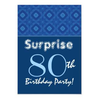 SURPRISE 80th Birthday Blue Diamond Pattern Card