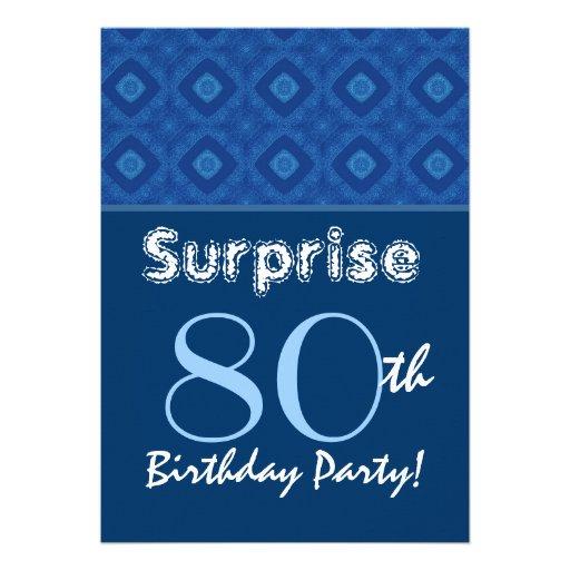 SURPRISE 80th Birthday Blue Diamond Pattern Personalized Invites