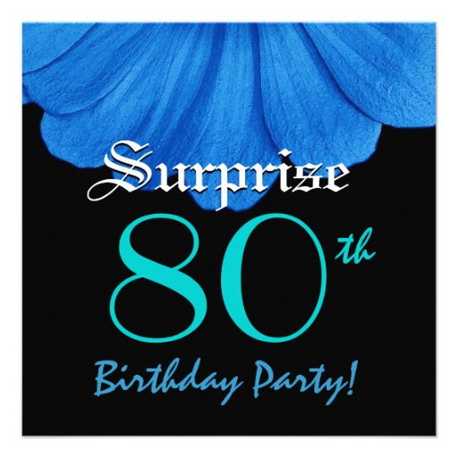 SURPRISE 80th Birthday Blue Flower Z307 Custom Announcements