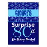 SURPRISE 80th Birthday Blue Stars W1431 5x7 Paper Invitation Card