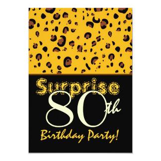 SURPRISE 80th Birthday Bright Gold Black Leopard Announcement