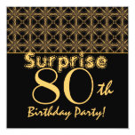 SURPRISE 80th Birthday Gold and Black Vintage Personalized Announcement