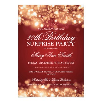 Surprise 80th Birthday Gold & Red Sparkling Lights Card