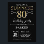 "Surprise 80th Birthday Invitation Black and Gold<br><div class=""desc"">Surprise 80th Birthday Invitation with Black and Gold Glitter Background. Chalkboard. Adult Birthday. Men or Women Bday Invite. Any age. For further customization,  please click the ""Customize it"" button and use our design tool to modify this template.</div>"
