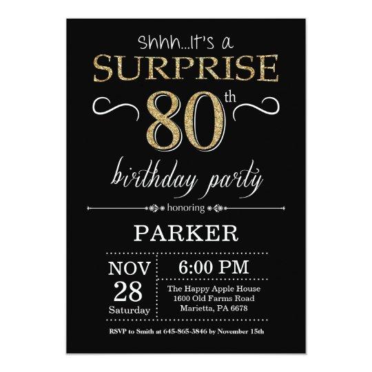 Surprise 80th Birthday Invitation Black And Gold