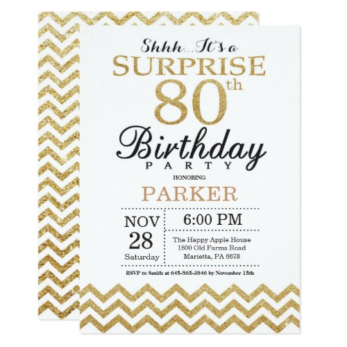 White and Gold Surprise 80th Birthday Invitation