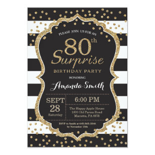 Surprise 80th Birthday Invitation Gold Glitter