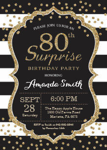 Surprise 80th birthday invitations zazzle surprise 80th birthday invitation gold glitter invitation filmwisefo