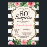 "Surprise 80th Birthday Invitation Women Floral<br><div class=""desc"">Surprise 80th Birthday Invitation for women. Black and Gold Birthday Party Invite. Gold Glitter. Pink Watercolor Floral Flower. Black and White Stripes. Printable Digital. For further customization,  please click the ""Customize it"" button and use our design tool to modify this template.</div>"
