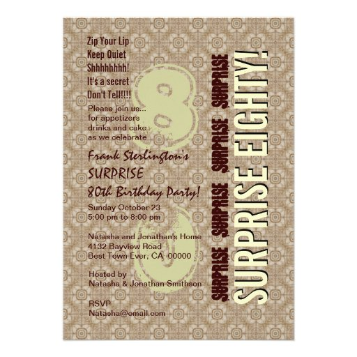 SURPRISE 80th Birthday Modern Vertical Numbers Invite