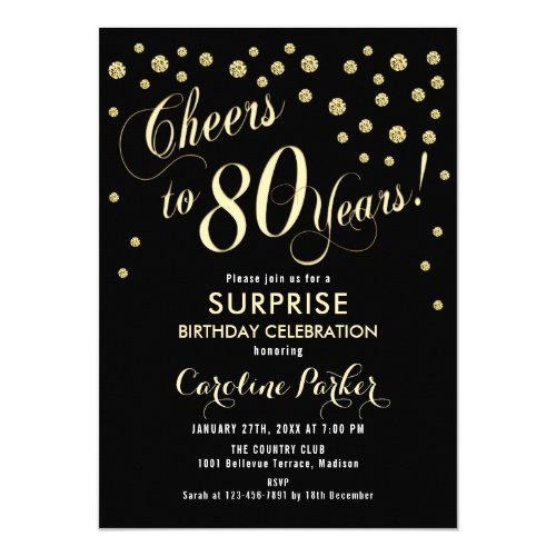 Cheers to 80 Years Surprise Invitation - 10 Colors
