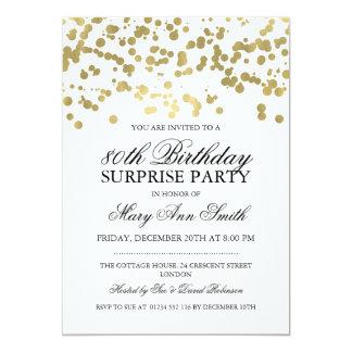 Surprise 80th Birthday Party Gold Foil Confetti Card