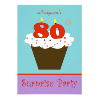 Surprise 80th Birthday Party Invitation Personalized Announcement